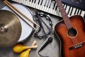 A,Group,Of,Musical,Instruments,Including,A,Guitar,,Drum,,Keyboard,
